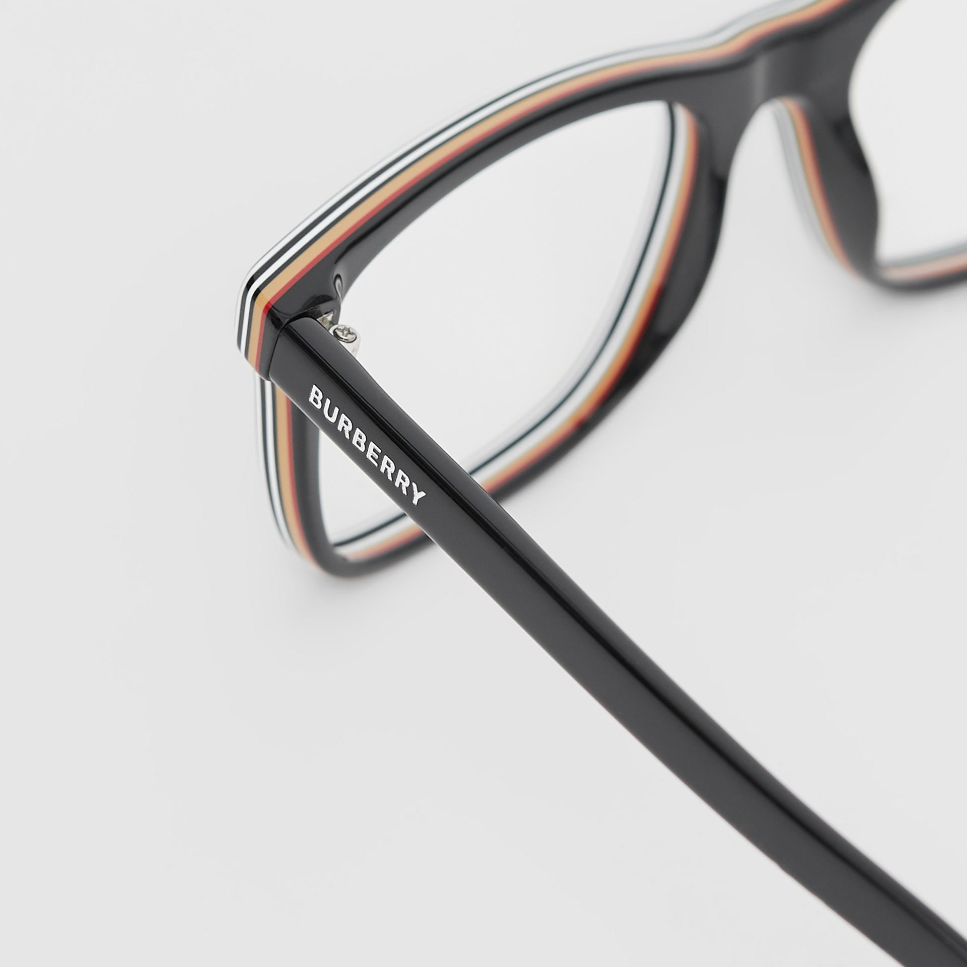 Icon Stripe Detail Rectangular Optical Frames in Black - Men | Burberry - gallery image 1