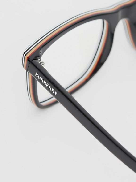 Icon Stripe Detail Rectangular Optical Frames in Black - Men | Burberry - cell image 1