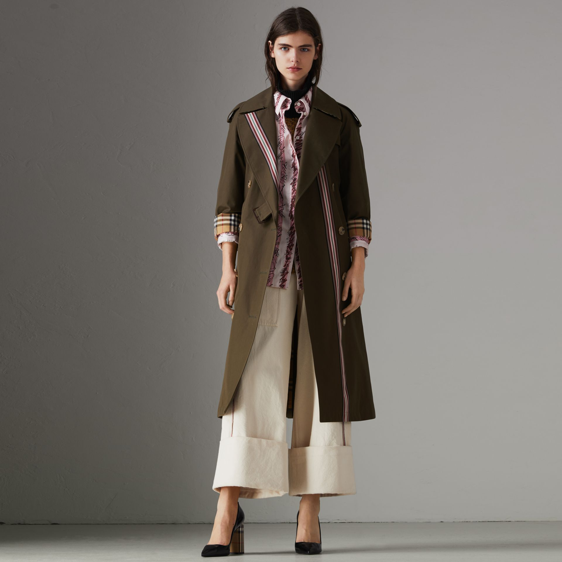 Collegiate Stripe Cotton Gabardine Trench Coat in Olive - Women | Burberry - gallery image 0