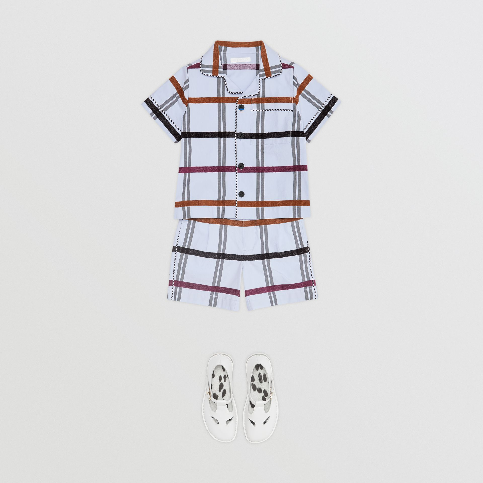 Windowpane Check Cotton Tailored Shorts in Light Blue - Children | Burberry - gallery image 2