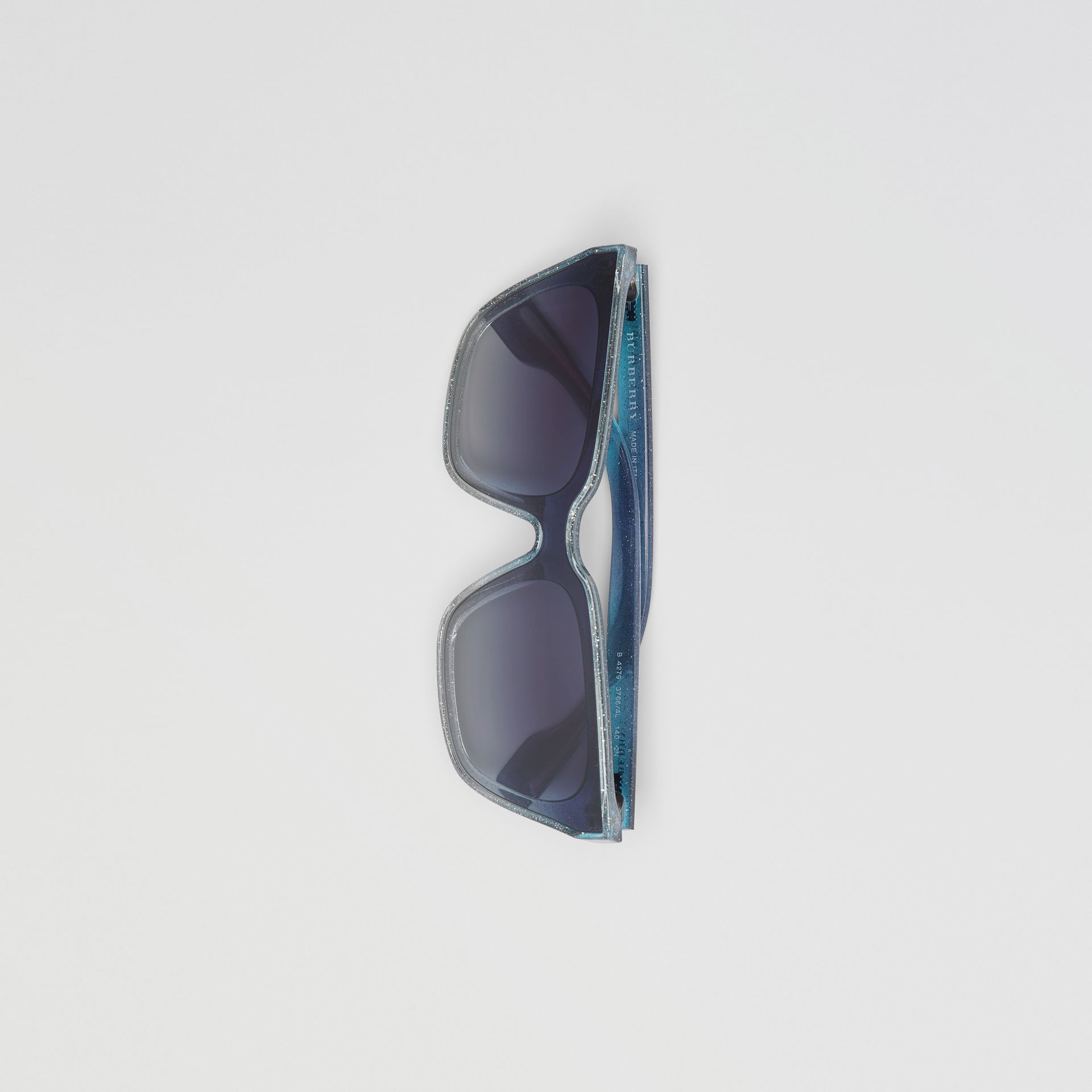 Glitter Detail Square Frame Shield Sunglasses in Blue - Women | Burberry - gallery image 3