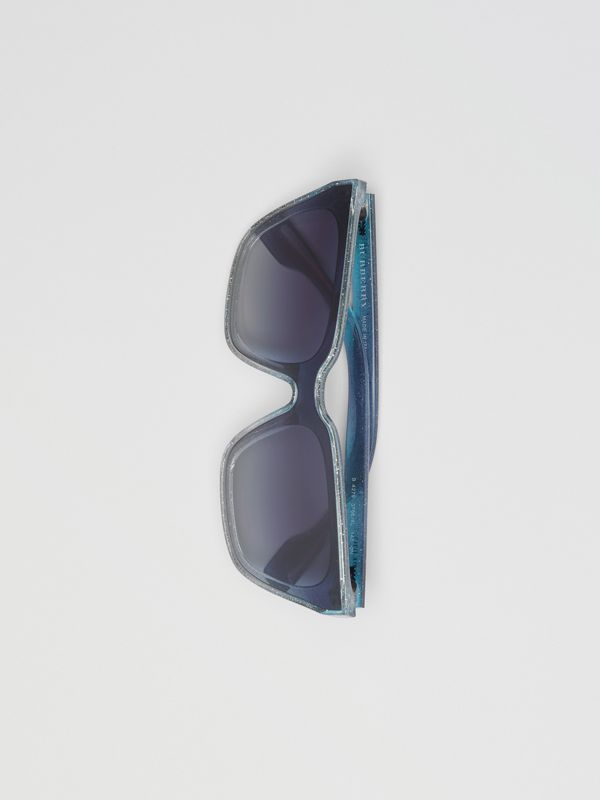 Glitter Detail Square Frame Shield Sunglasses in Blue - Women | Burberry - cell image 3
