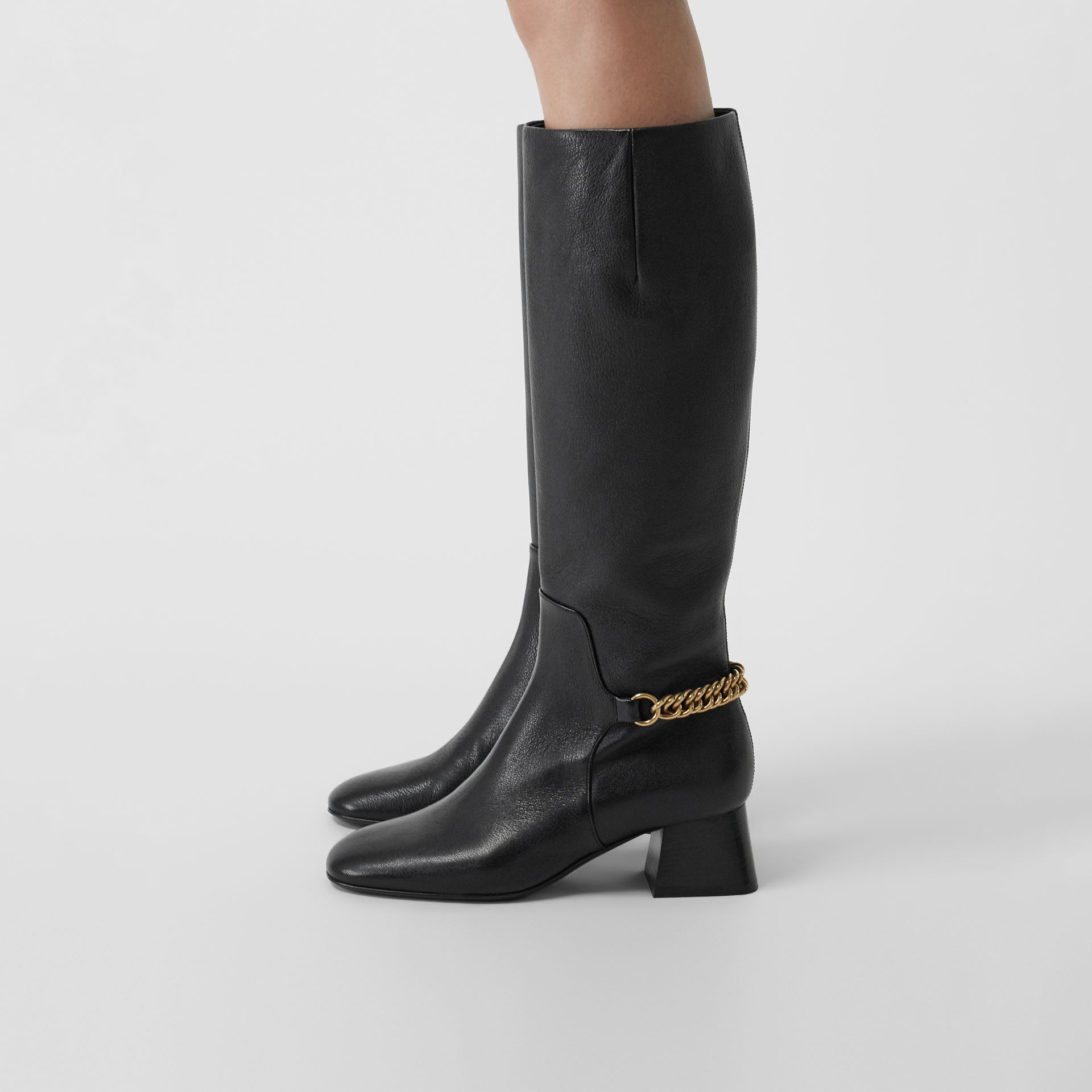 Link Detail Leather Knee-high Boots in Black - Women | Burberry - gallery image 2