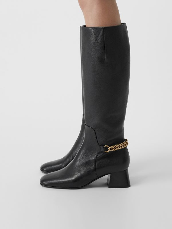 Link Detail Leather Knee-high Boots in Black - Women | Burberry - cell image 2
