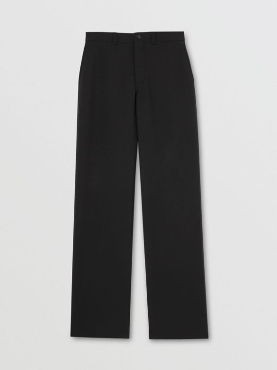 Cut-out Back Wool Wide-leg Trousers in Black