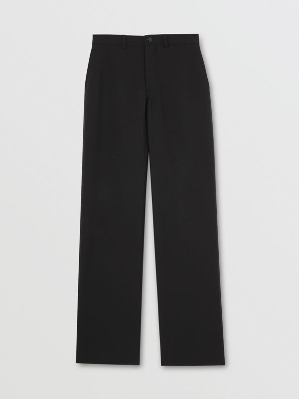 Cut-out Back Wool Wide-leg Trousers in Black | Burberry United Kingdom - cell image 3