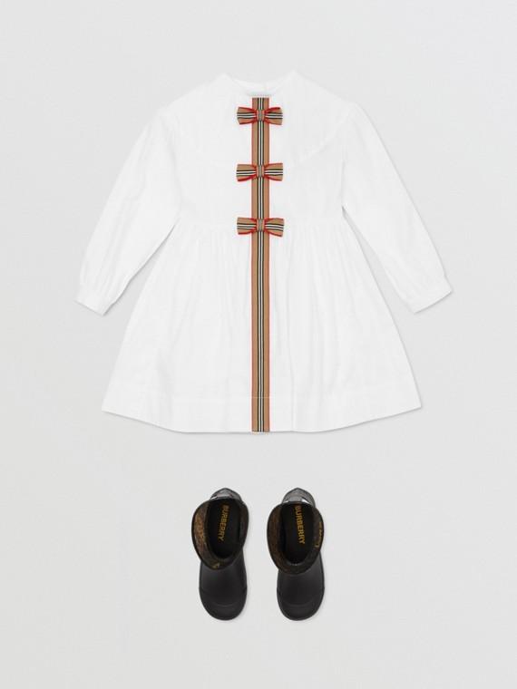 아이콘 스트라이프 트리밍 스트레치 코튼 포플린 드레스 (화이트)