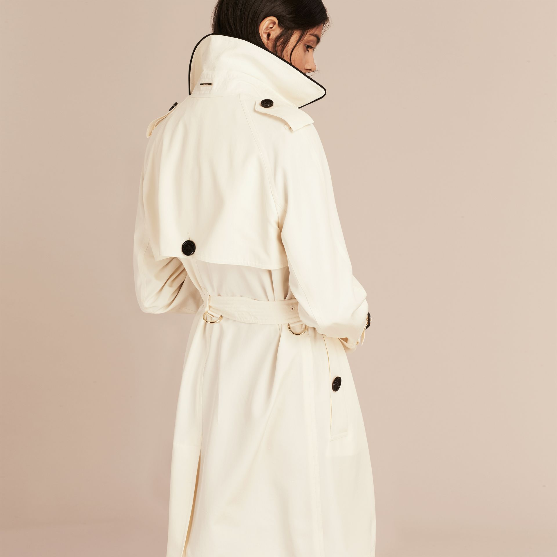 Parchment Oversize Detail Silk Trench Coat Parchment - gallery image 3