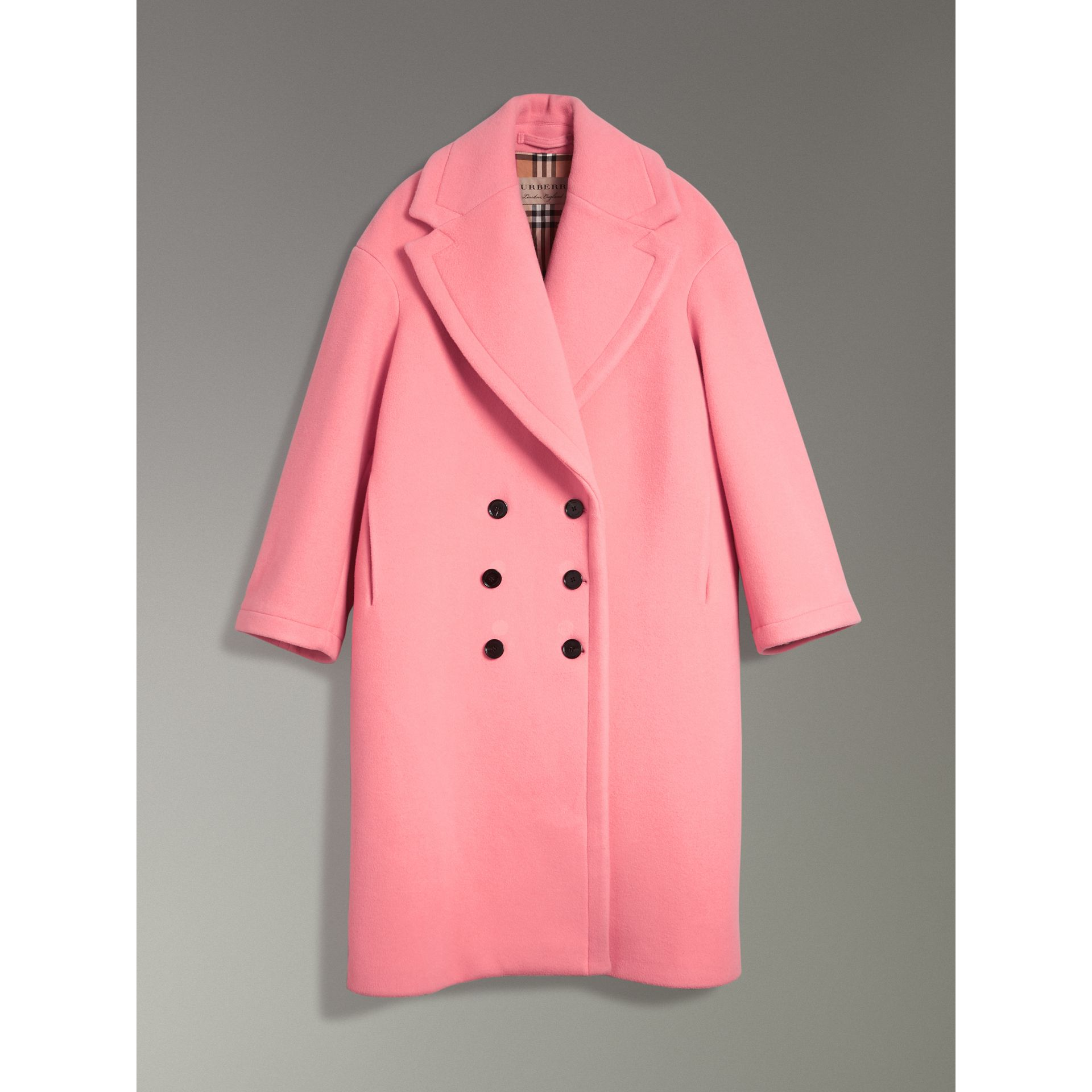 Double-faced Wool Cashmere Oversized Coat in Bright Coral Pink | Burberry - gallery image 3