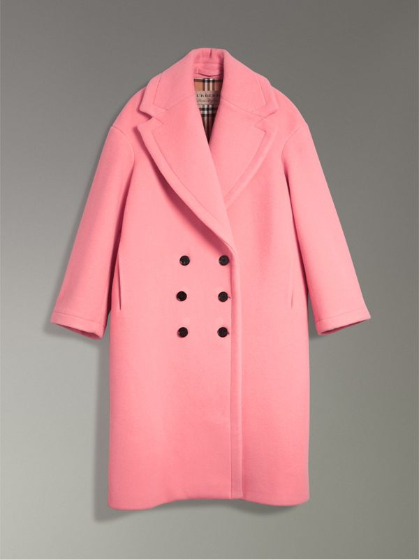 Double-faced Wool Cashmere Oversized Coat in Bright Coral Pink | Burberry - cell image 3