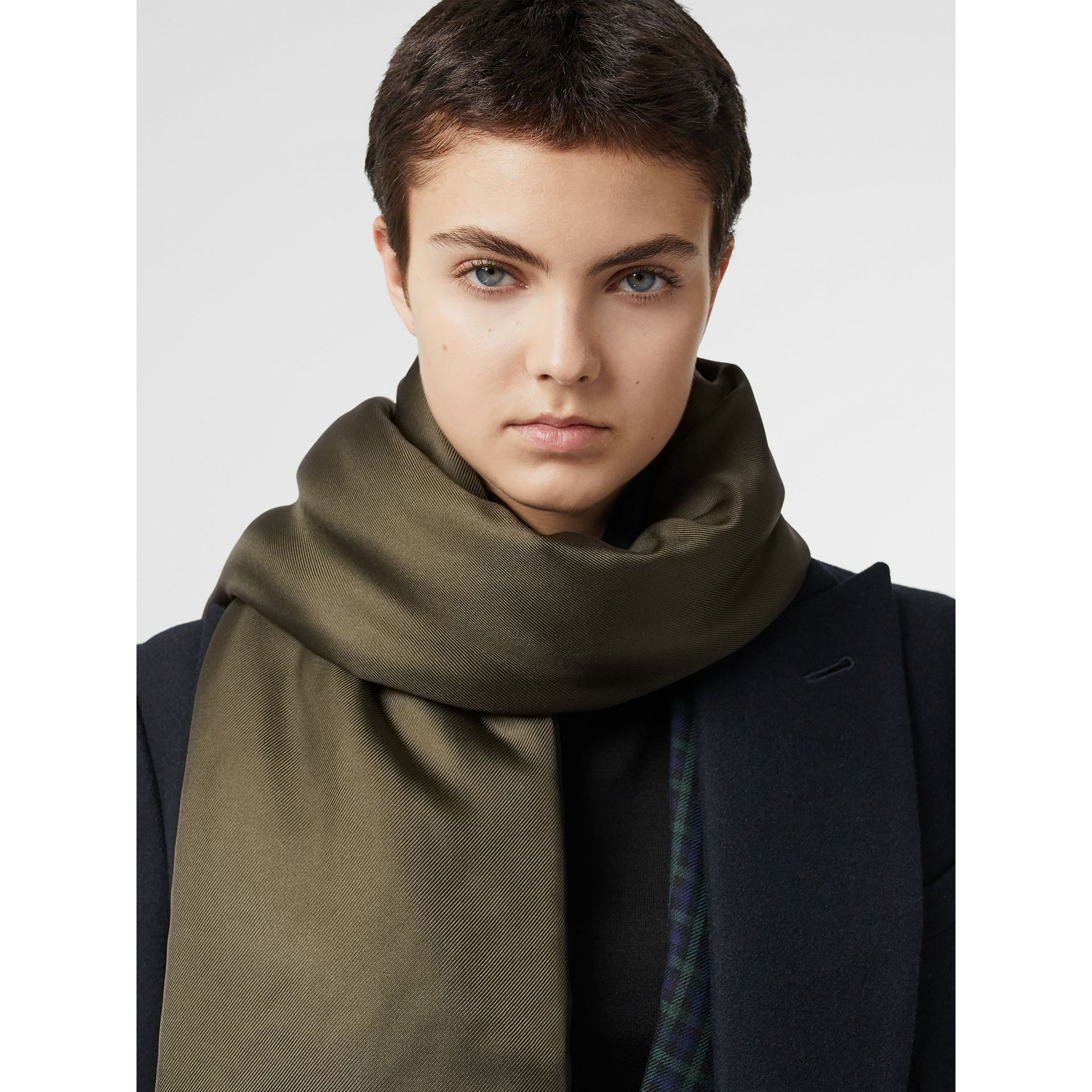 Two-tone Silk Puffer Scarf in Dark Olive | Burberry - gallery image 3
