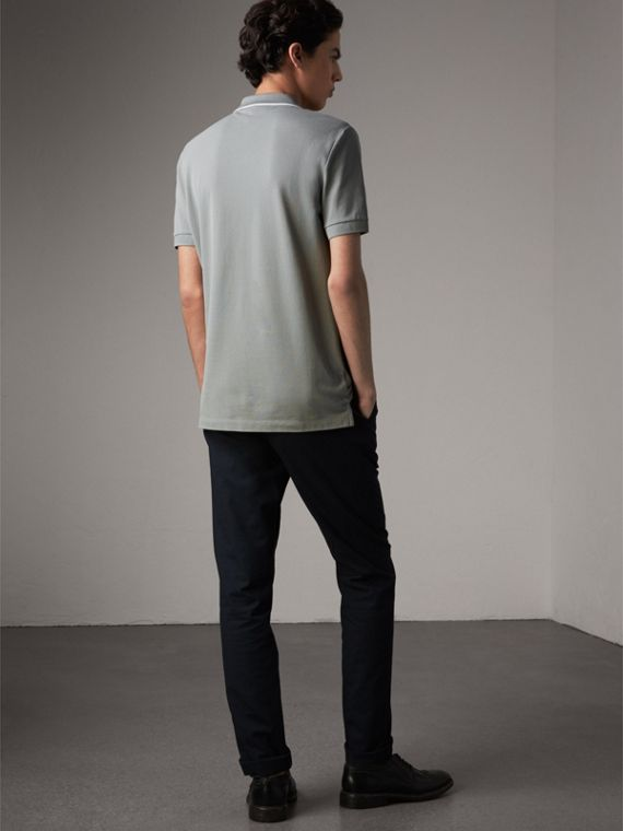 Tipped Collar Cotton Piqué Polo Shirt in Mist Grey - Men | Burberry Singapore - cell image 2