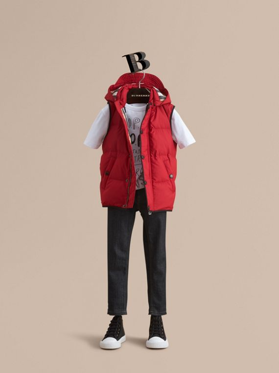 Down-filled Hooded Gilet in Parade Red - Boy | Burberry