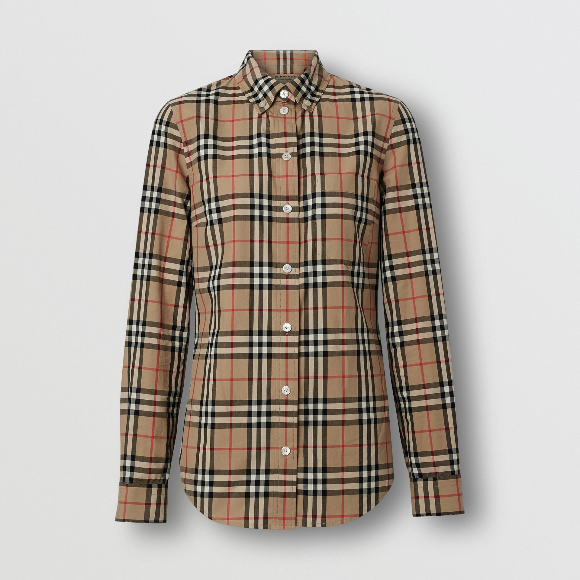 Icon Stripe Detail Vintage Check Cotton Shirt in Archive Beige - Women | Burberry Australia - gallery image 3