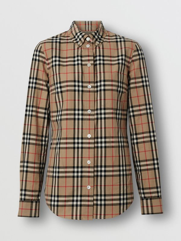 Icon Stripe Detail Vintage Check Cotton Shirt in Archive Beige - Women | Burberry United Kingdom - cell image 3
