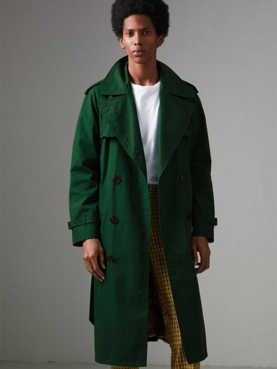 Gun-flap Detail Cotton Gabardine Trench Coat in Deep Veridian Green