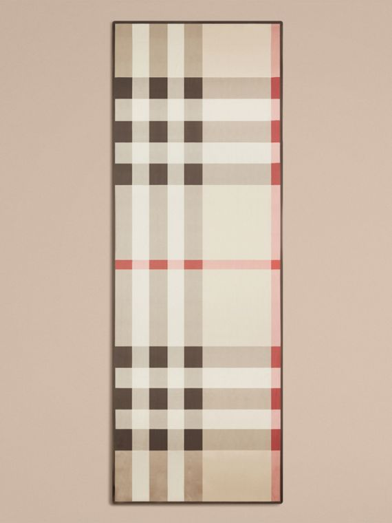 Lightweight Check Silk Scarf in Stone - Women | Burberry - cell image 3