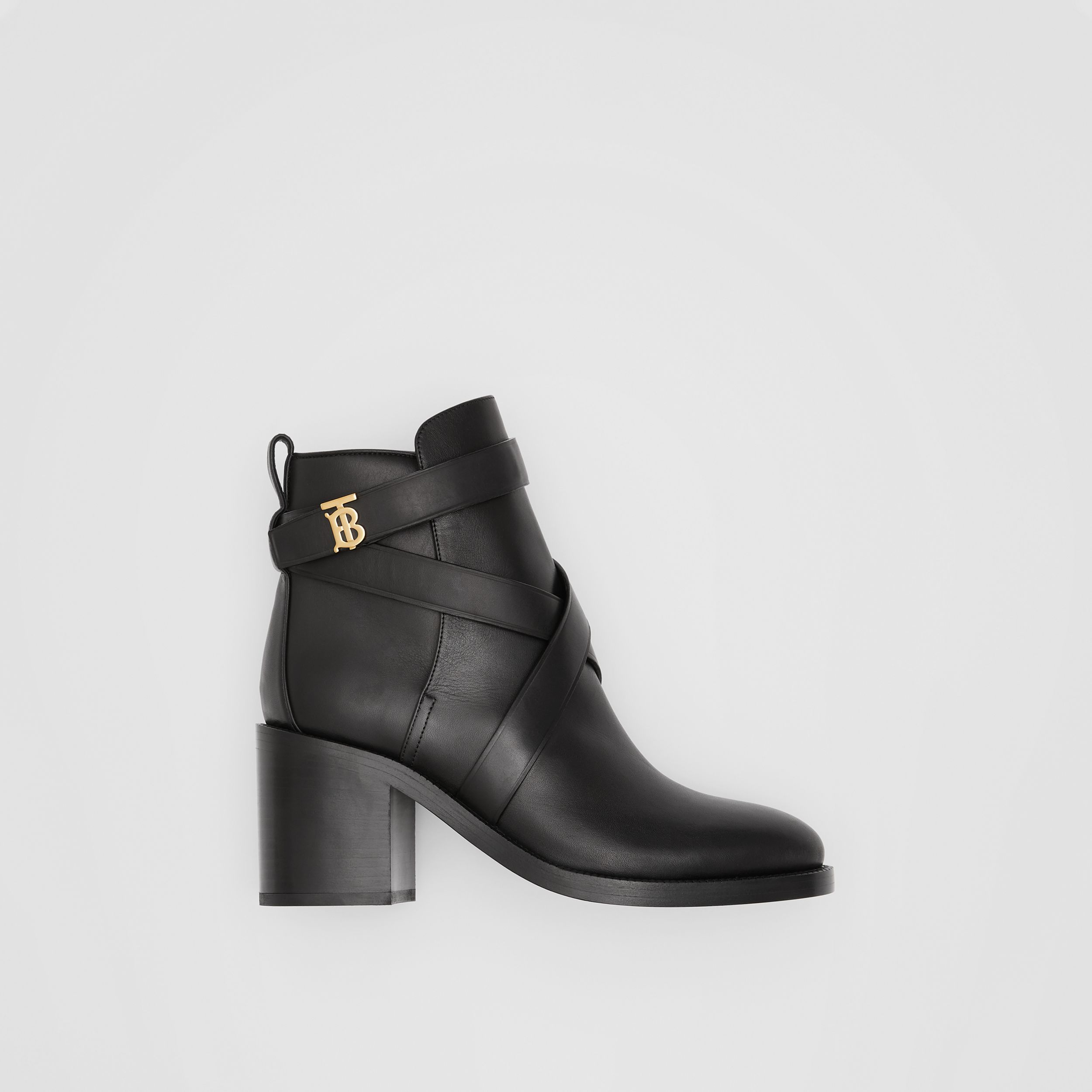 Monogram Motif Leather Ankle Boots in Black - Women | Burberry - 1