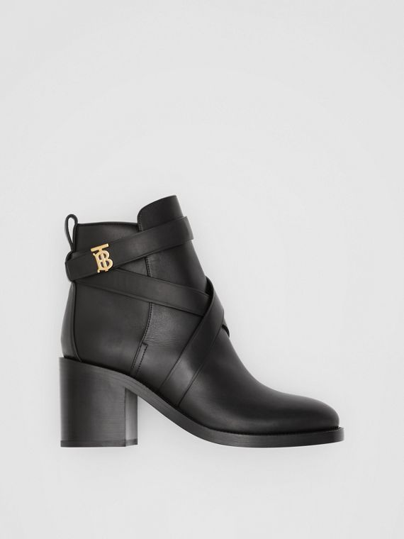 Monogram Motif Leather Ankle Boots in Black
