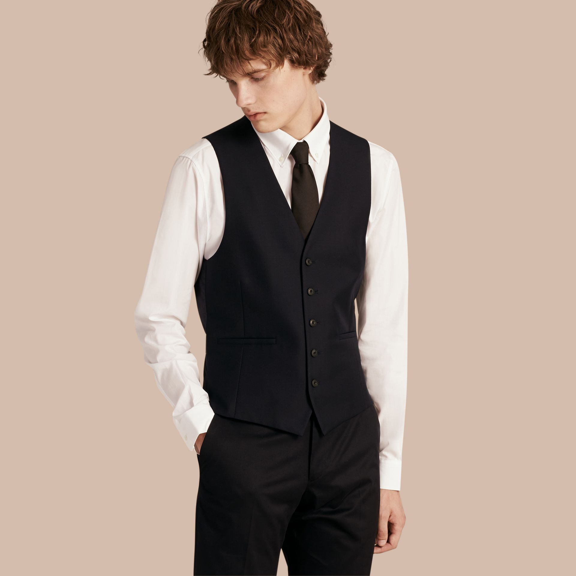 Slim Fit Wool Waistcoat in Navy - Men | Burberry United Kingdom - gallery image 0