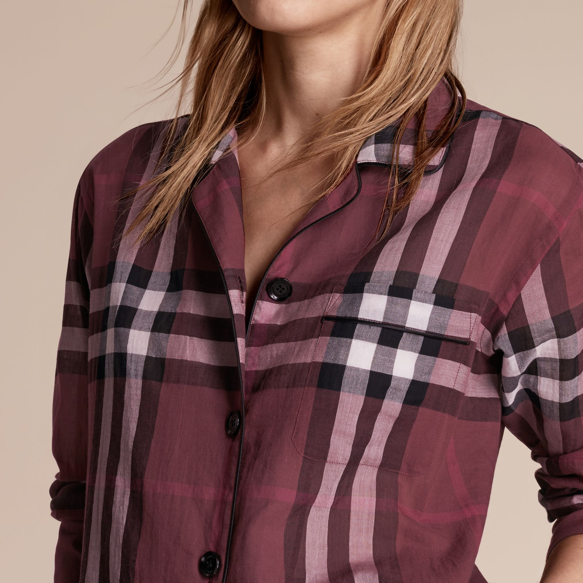 Check Cotton Pyjama-style Shirt in Magenta Pink - gallery image 5