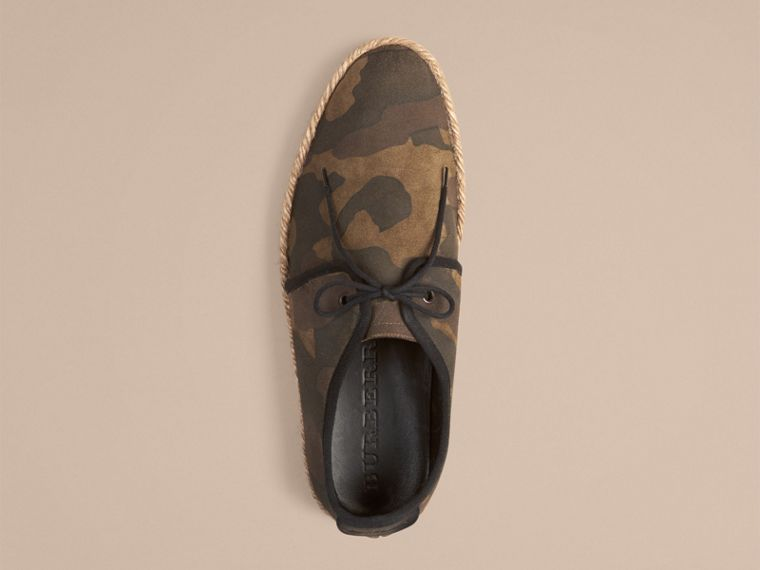Dark green ochre Camouflage Print Suede Lace-up Espadrilles - cell image 1