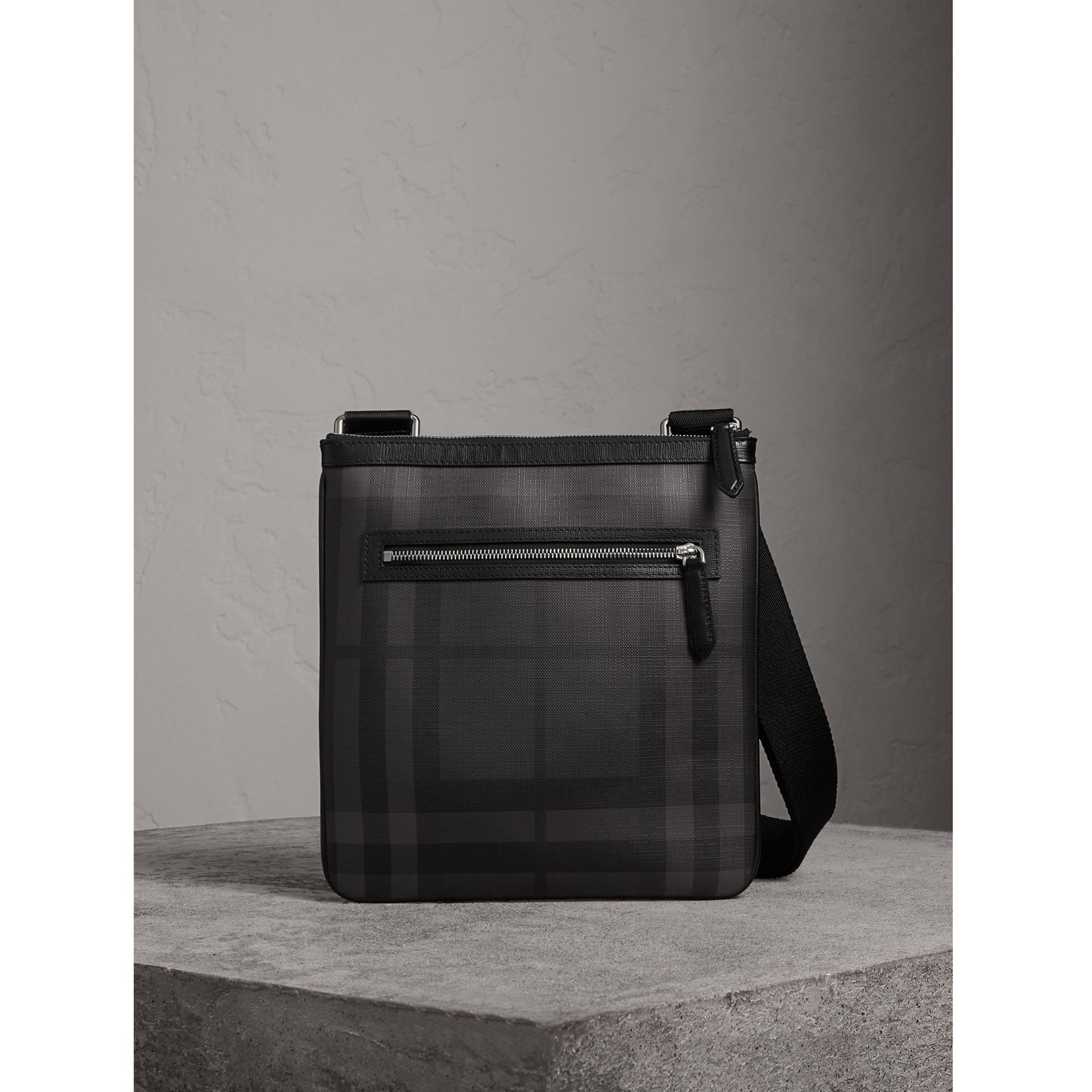 Leather Trim London Check Crossbody Bag in Charcoal/black - Men | Burberry - gallery image 0