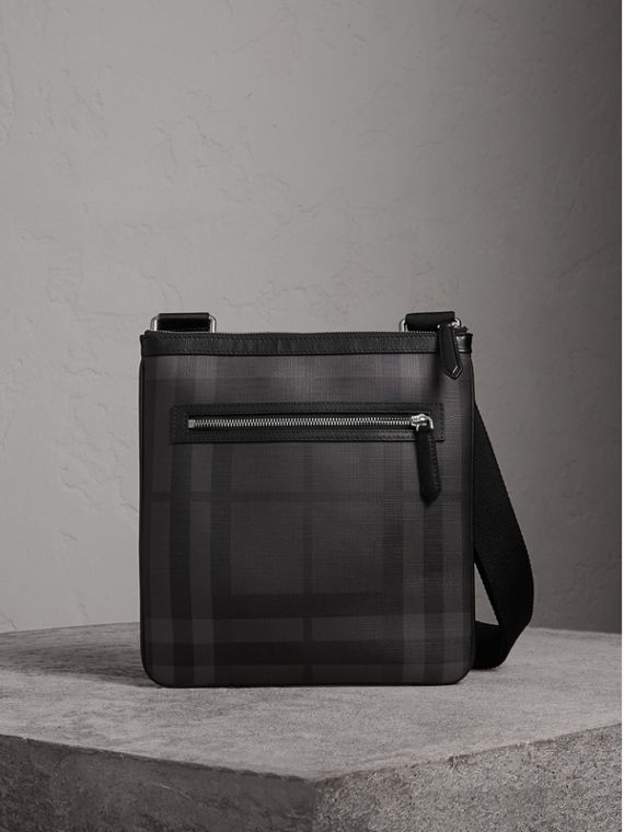 Leather Trim London Check Crossbody Bag in Charcoal/black - Men | Burberry Hong Kong