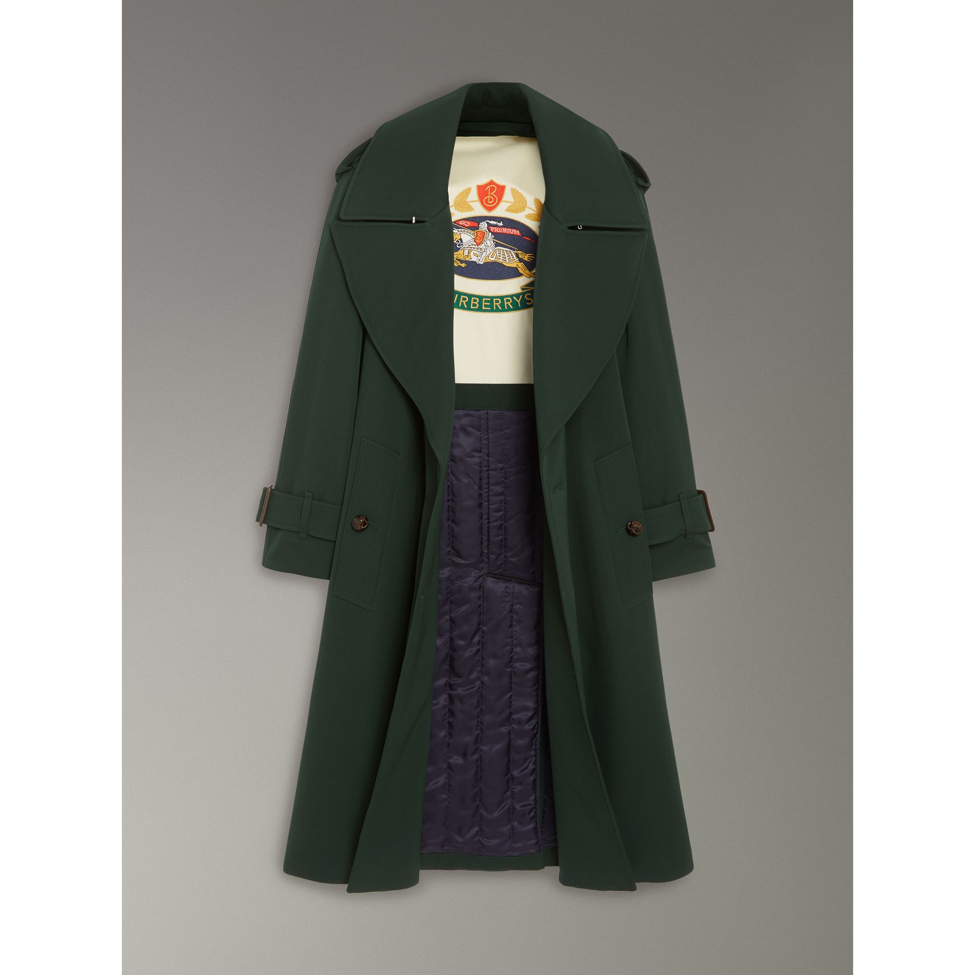 Oversized Lapel Wool Gabardine Trench Coat in Dark Cedar Green - Women | Burberry - gallery image 1