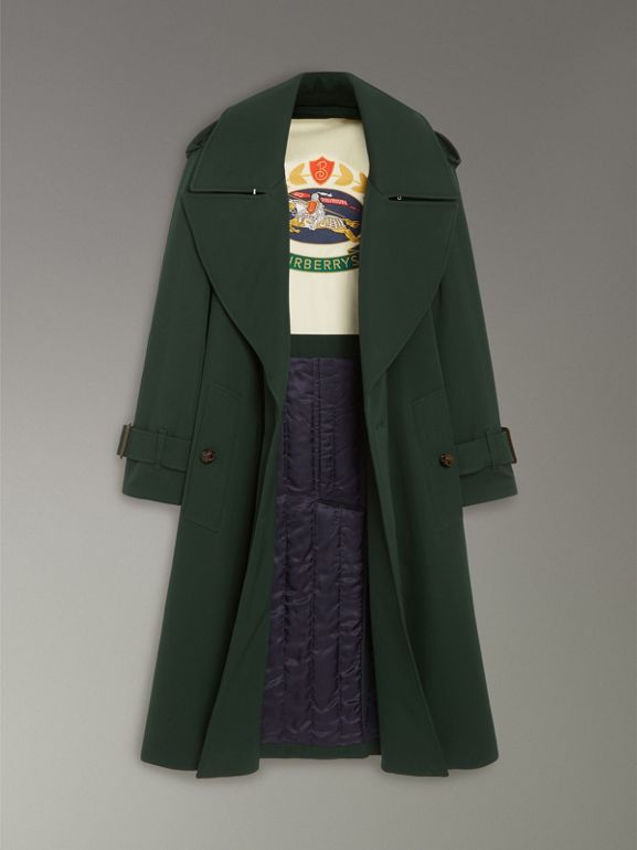 Oversized Lapel Wool Gabardine Trench Coat in Dark Cedar Green - Women | Burberry - cell image 1