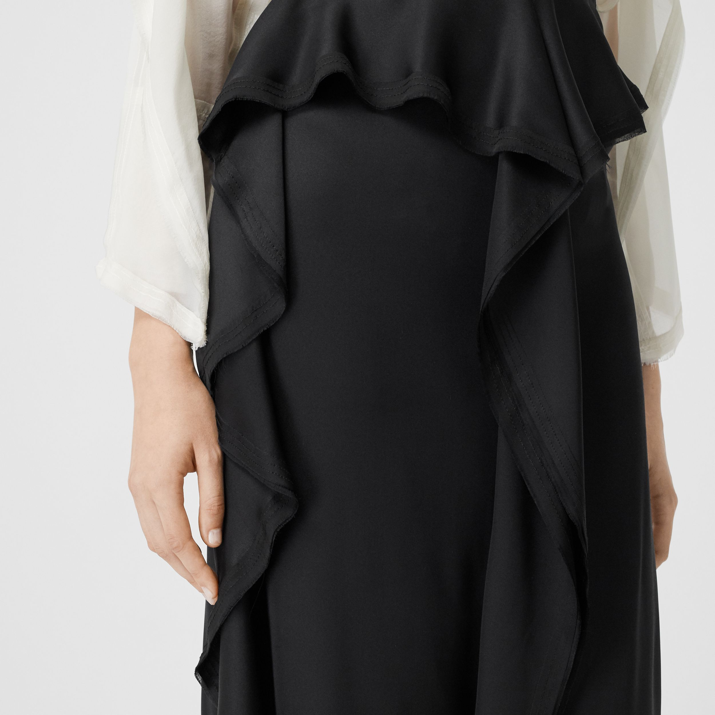 Ruffle Detail Silk Satin Pencil Skirt in Black - Women | Burberry - 2