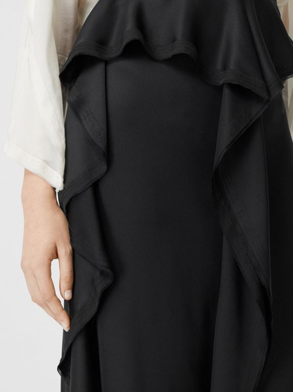 Ruffle Detail Silk Satin Pencil Skirt in Black - Women | Burberry United Kingdom - cell image 1