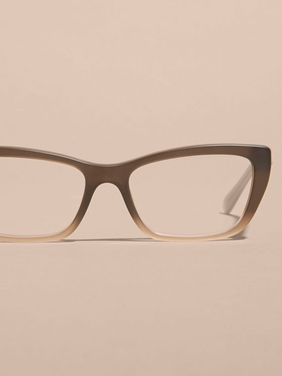 Check Detail Rectangular Cat-eye Optical Frames Carnation Melange - cell image 2