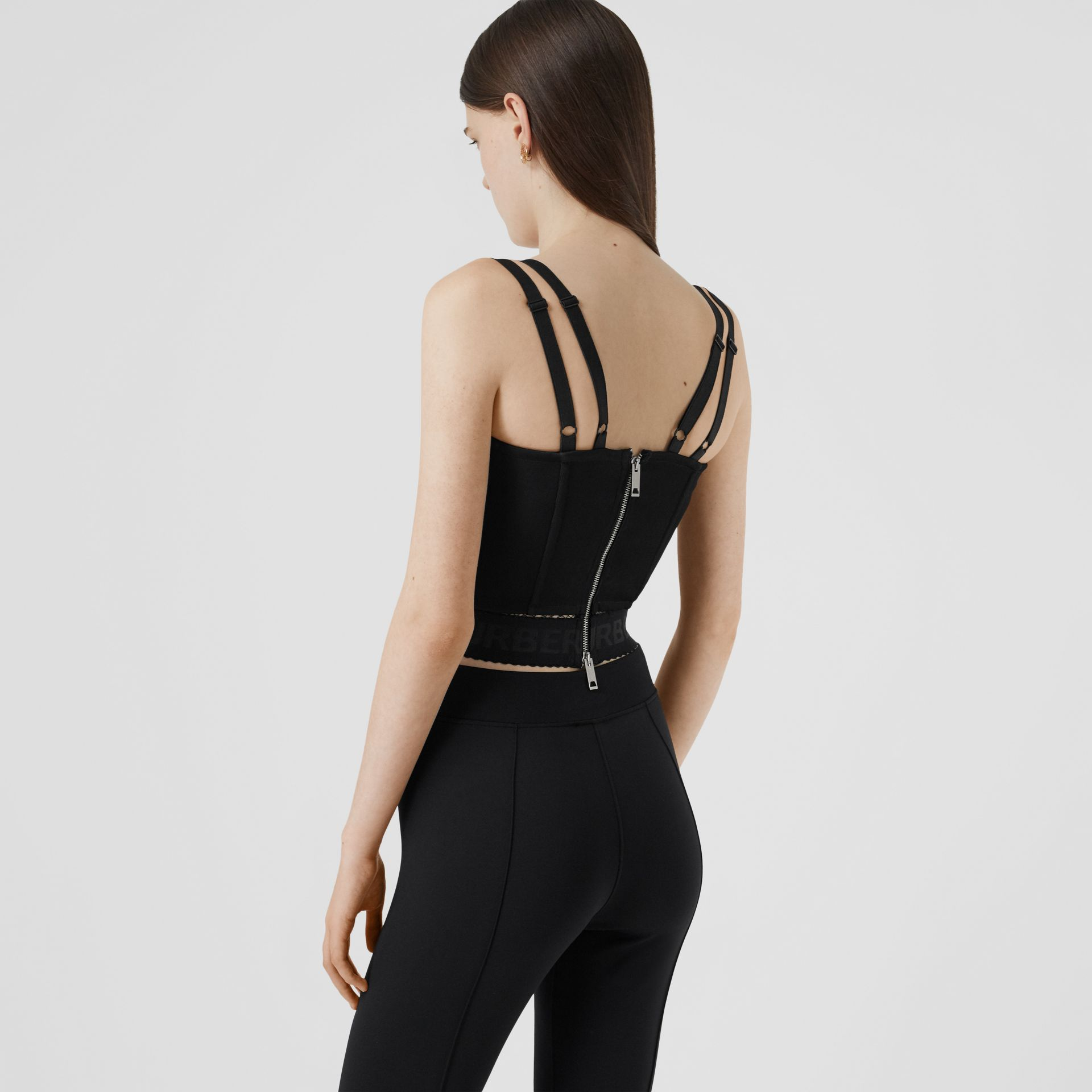 Logo Detail Stretch Jersey Corset Top in Black - Women | Burberry - gallery image 2