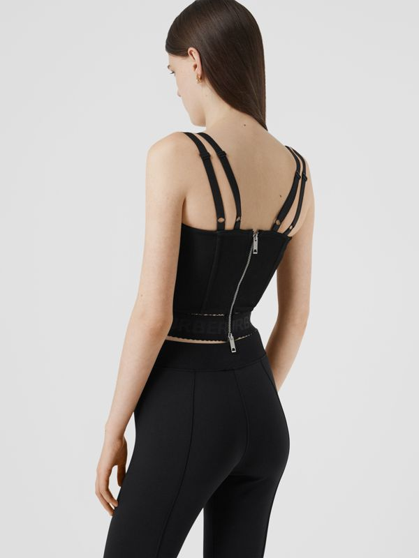 Logo Detail Stretch Jersey Corset Top in Black - Women | Burberry - cell image 2