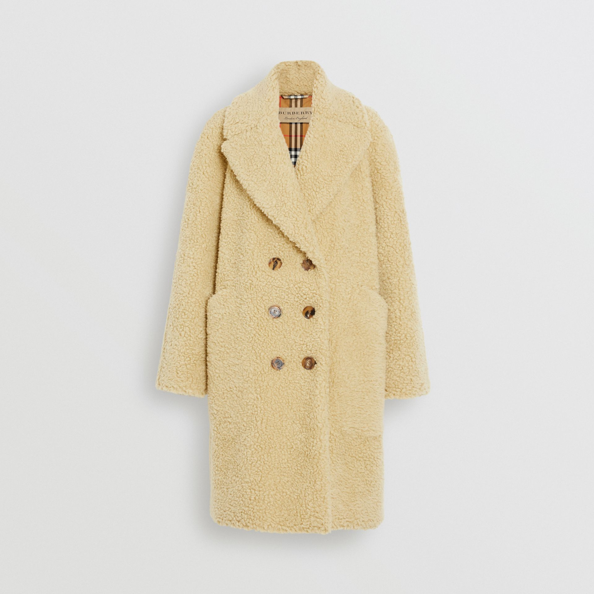 Faux Shearling Double-breasted Oversized Coat in Camomile - Women | Burberry - gallery image 3