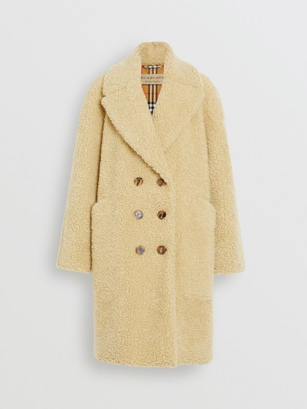 Faux Shearling Double-breasted Oversized Coat in Camomile - Women | Burberry - cell image 3