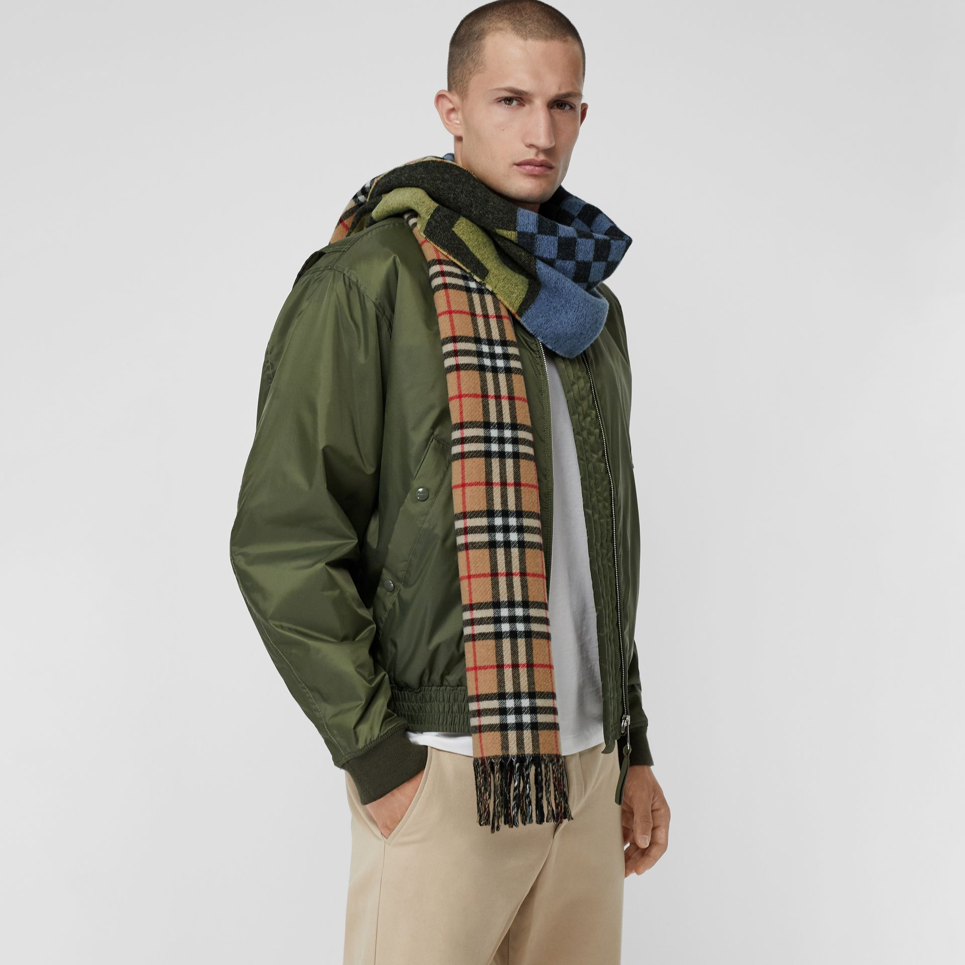 Vintage Check Colour Block Wool Cashmere Scarf in Antique Yellow | Burberry - gallery image 6