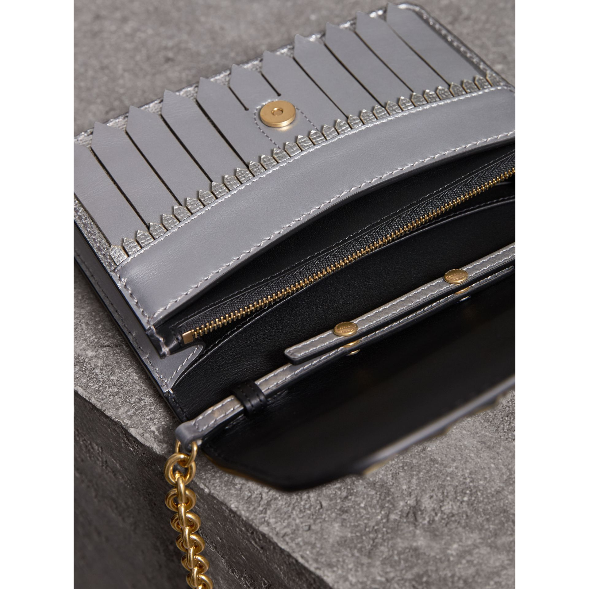 Brogue Detail Metallic Leather Wallet with Detachable Strap in Silver - Women | Burberry Hong Kong - gallery image 5
