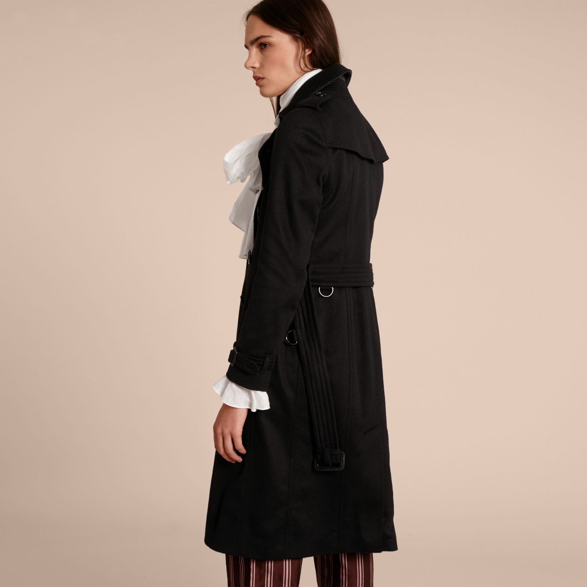 Black Sandringham Fit Cashmere Trench Coat Black - gallery image 3
