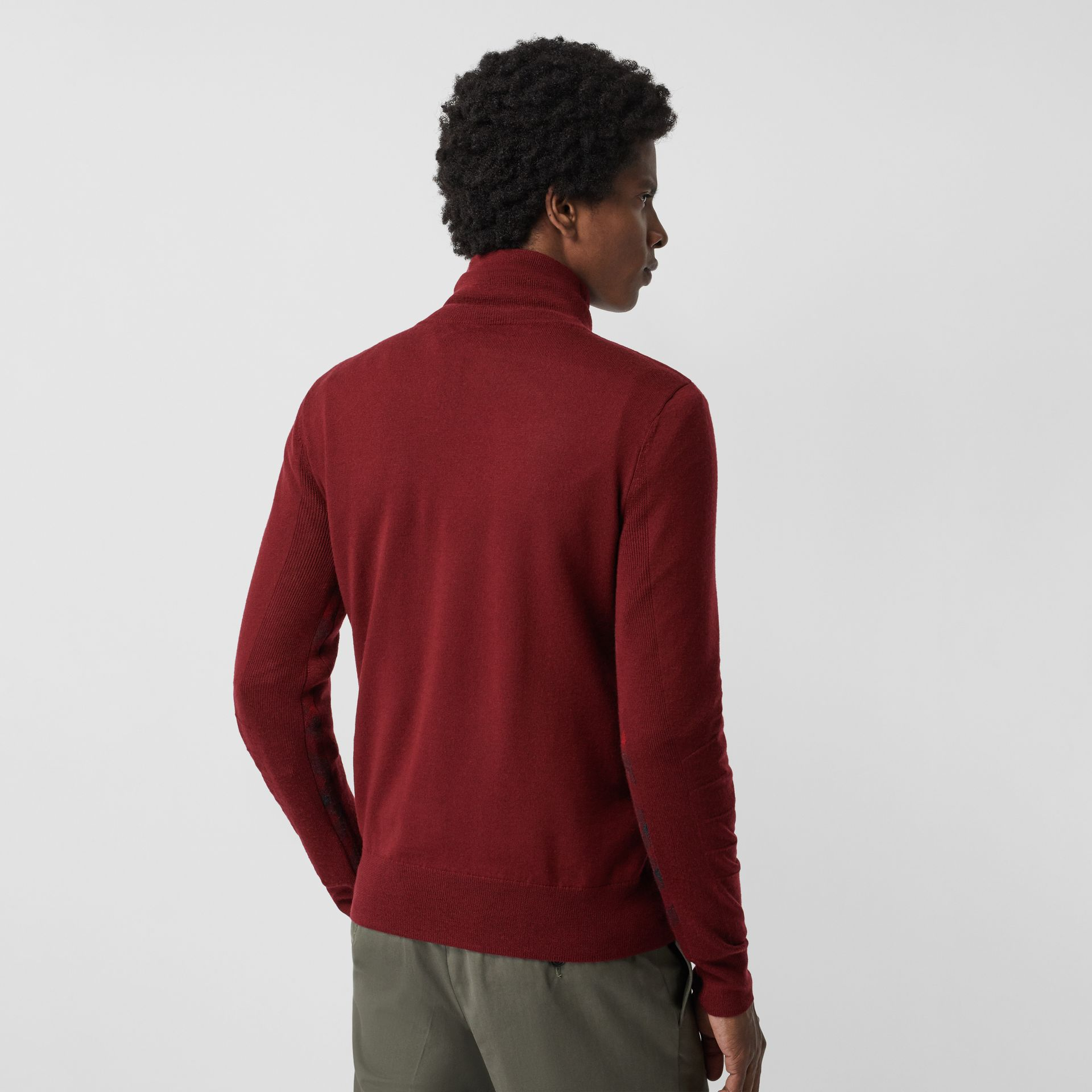 Merino Wool Half-zip Sweater in Burgundy - Men | Burberry Australia - gallery image 2