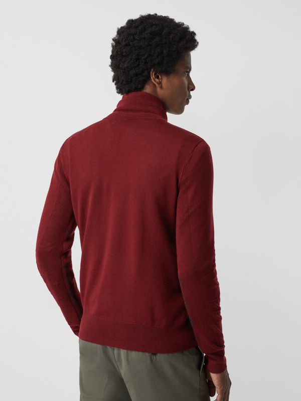 Merino Wool Half-zip Sweater in Burgundy - Men | Burberry Australia - cell image 2