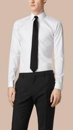 Slim Fit Double-cuff Cotton Dress Shirt