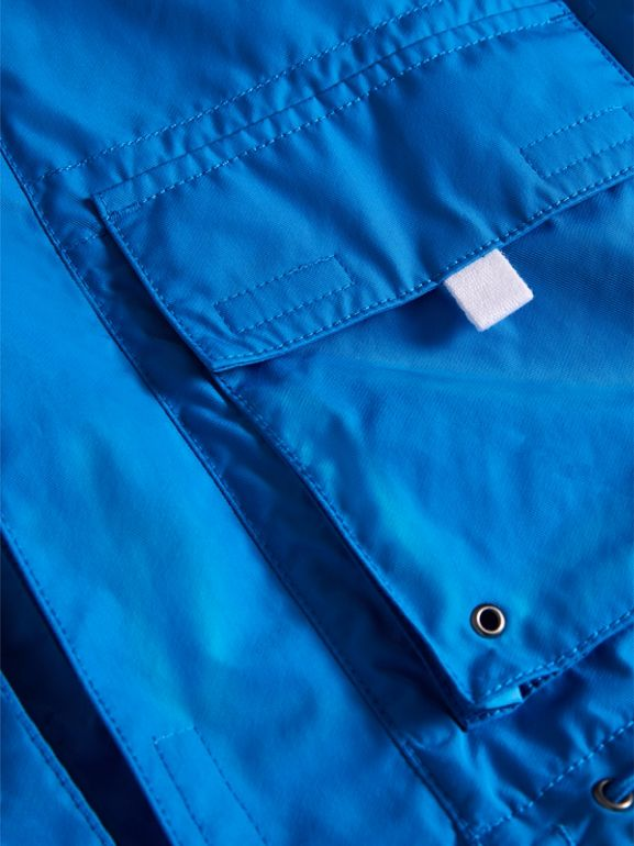 Hooded Shape-memory Taffeta Field Jacket in Azure Blue | Burberry - cell image 1