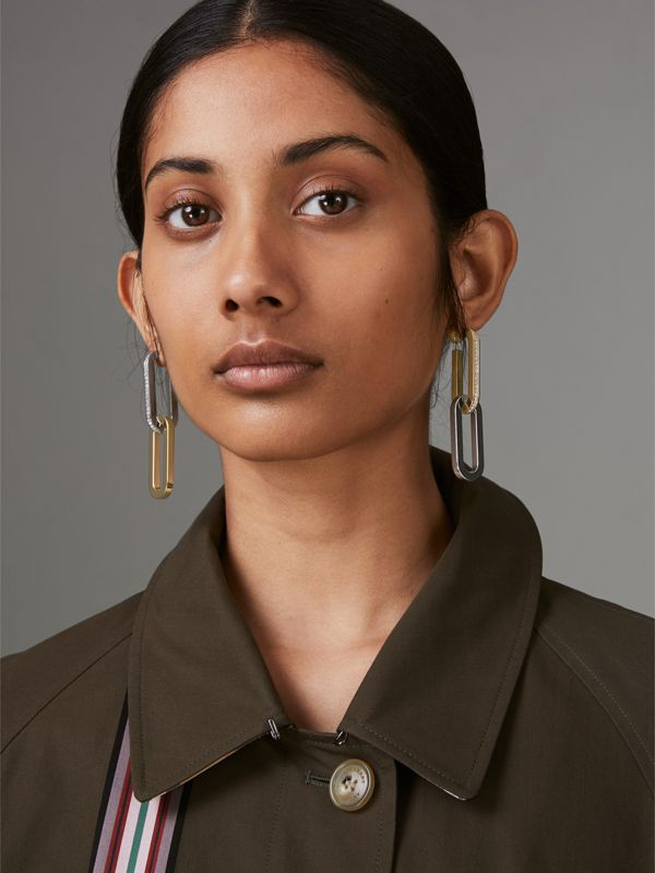 Crystal, Gold and Palladium-plated Link Drop Earrings in Light Gold/palladio - Women | Burberry United Kingdom - cell image 2