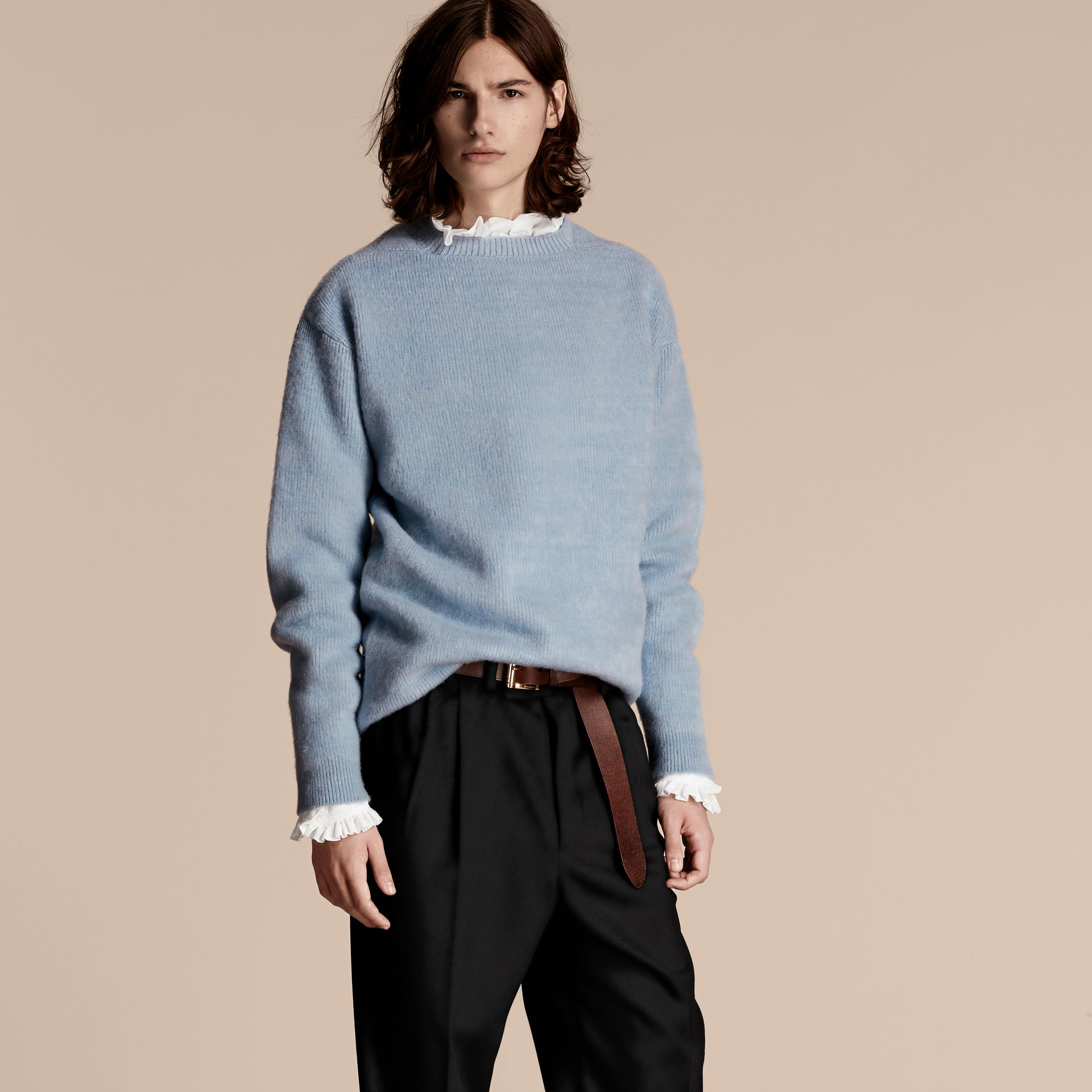Hydrangea blue Brushed Wool Cashmere Sweater - gallery image 6