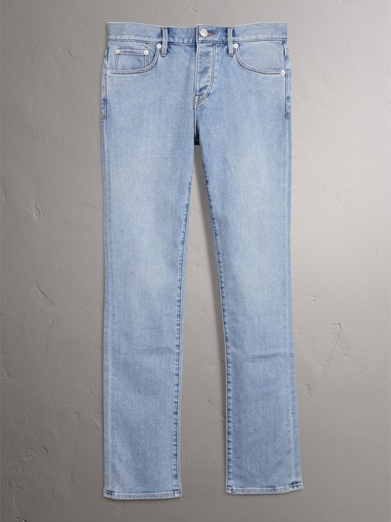 Straight Fit Comfort Stretch Japanese Denim Jeans in Light Indigo - Men | Burberry Australia - cell image 3