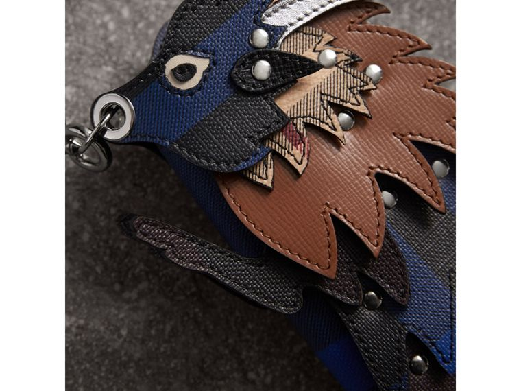 The Bull – Leather and Check Pouch in Bright Lapis - Men | Burberry Singapore - cell image 1