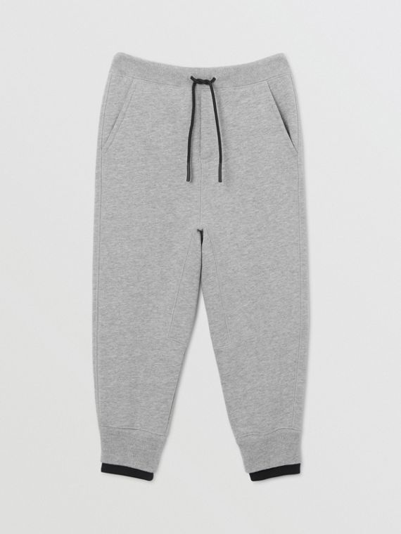 Logo Detail Cotton Trackpants in Grey Melange