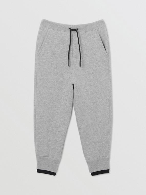 Track pants de algodão com detalhe de logotipo (Cinza Mesclado)